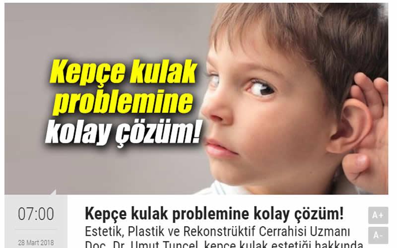 Kepçe Kulak Problemine Kolay Çözüm! Medya Ege
